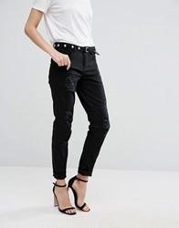 Vila Distressed Mom Jeans Black