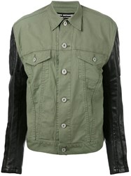 Comme Des Garcons Junya Watanabe Faux Leather Sleeve Jacket Women Cotton Polyurethane Artificial Leather S Green