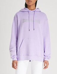 Wasted Paris London Logo Print Cotton Jersey Hoody Lavender
