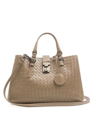 Bottega Veneta Roma Small Intrecciato Leather Tote Beige