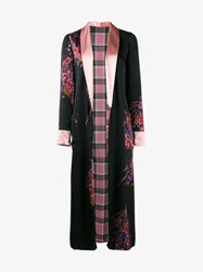 Etro Reversible Check And Floral Print Kimono Coat Black Multi Coloured Pink Purple