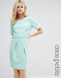 Asos Petite Textured Double Layer Mini Wiggle Dress Mint Green