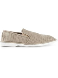 Pollini Perforated Loafers Grey