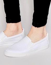 Asos Slip On Plimsolls In White Canvas With Heel Detailing White