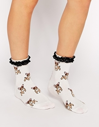 Asos Pug Ankle Socks With Lace Trim White