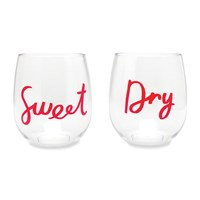 Kate Spade Sweet And Dry Acrylic Stemless Wine Glasses Set Of 2