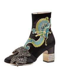 Gucci Candy Embroidered Crystal Bow Boot Black