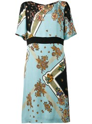 Etro Floral Patterned Dress Women Silk 46 Blue
