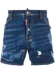 Dsquared2 Dan Commando Lightly Distressed Shorts Blue
