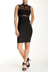 Wow Couture Sheer Lace Bandage Bodycon Dress Black