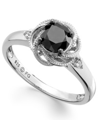 Macy's Sterling Silver Ring Black And White Diamond Twist Halo Engagement Ring