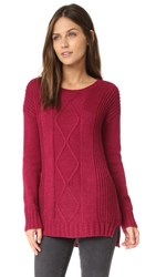 Cupcakes And Cashmere Fairview Cable Knit Sweater Red Velvet