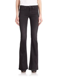 Rag And Bone The High Rise Flared Jeans Washed Black