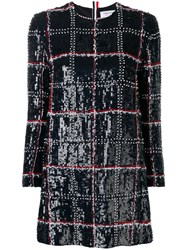 Thom Browne Silk Embroidered Mini Shift Dress Blue
