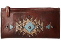 American West Folded Wallet Chestnut Brown Sand Light Turquoise Wallet Handbags