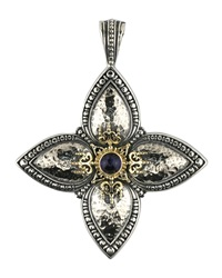 Konstantino Hammered Sterling Silver And Iolite Cross Pendant Enhancer