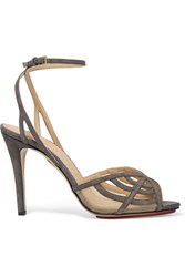 Charlotte Olympia Octavia Cutout Suede Sandals Gray