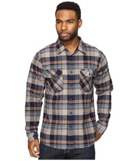 Brixton Flynn Long Sleeve Flannel Navy Khaki Men's Clothing Blue