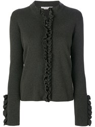 D.Exterior Ruffled Detailed Zipped Cardigan Wool Xl Brown