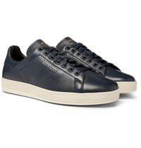 Tom Ford Warwick Perforated Full Grain Leather Sneakers Navy