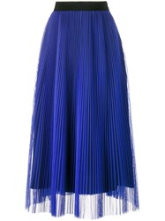 Msgm Pleated Midi Skirt Women Polyester 44 Blue