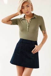 Bdg Corduroy A Line Utility Skirt Navy