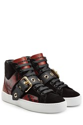 Burberry Shoes And Accessories Leather High Top Sneakers With Suede And Snakeskin Red
