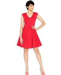 Bar Iii Cap Sleeve Fit And Flare Dress Only At Macy's Hibiscus Bloom