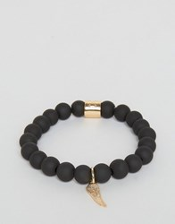 Chained And Able Gold Hanging Wing Beaded Bracelet In Matte Black Black