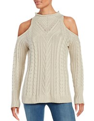 Design Lab Lord And Taylor Cold Shoulder Cable Knit Sweater White Beach