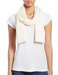Lord And Taylor Knit Cashmere Scarf Ivory