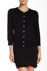Cable And Gauge Heart Button Cardigan Black