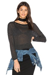 Stateside Stripe High Low Tee Black