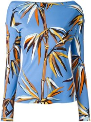 Emilio Pucci Leaves Print Boatneck T Shirt Blue