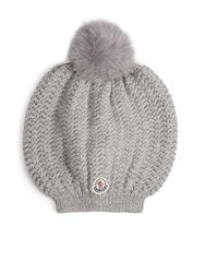 Moncler Fox Fur Pompom Knitted Beanie Hat