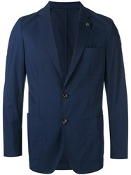 Michael Kors Denim Blazer Men Cotton Nylon Polyester 40 Blue