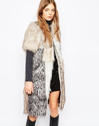 Urbancode Patched Faux Fur Gilet Multi