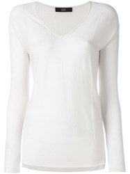 Steffen Schraut V Neck Sweater White