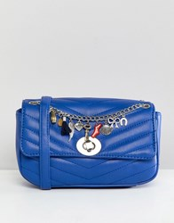 Stradivarius Quilted Chain Cross Body Bag In Blue