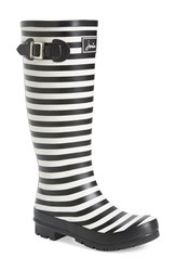 Joules Women's 'Welly' Print Rain Boot Black Stripe