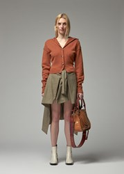 Chloe 'S High Collared Cardigan Sweater In Tannish Red Size Small Wool Cashmere Polyamide