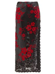 Paco Rabanne Flocked Chainmail And Lace Skirt Black Red