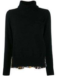 Sacai Pleated Back Knit Sweater Black