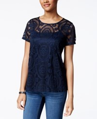 Charter Club Lace Swing Top Only At Macy's Intrepid Blue