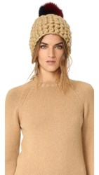 Mischa Lampert Beanie Two Tone Pomster Hat Gold Ruby And Navy