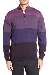 Bugatchi Men's Quarter Zip Wool Sweater Plum