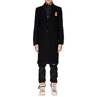 Off White C O Virgil Abloh Wool Blend Flannel Overcoat Black
