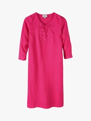 Pure Collection Linen Tie Neck Dress Raspberry