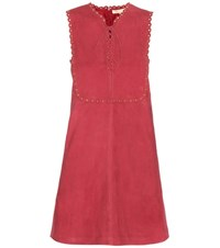 Vanessa Bruno Edane Embellished Suede Dress Red