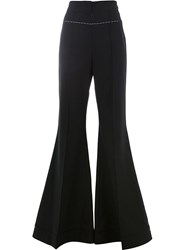 Vera Wang Contrast Stitch Flared Trousers Black